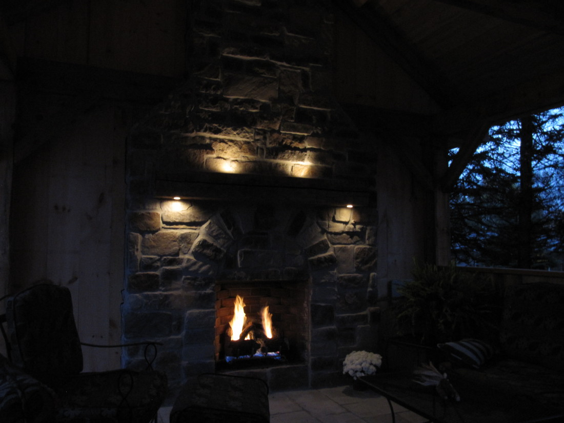 Fireplace Lighting with Copper Potlights